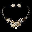 Elegance by Carbonneau NE-6508-Gold Gold Clear Necklace Earring Set 6508
