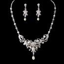Elegance by Carbonneau NE-6820 Silver Clear Crystal & Freshwater Pearl Necklace Earring Set NE 6820