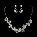 Elegance by Carbonneau NE-7035-Silver-Clear Necklace Set NE 7035 Silver Clear