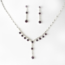 Elegance by Carbonneau NE-7157-Amethyst Necklace Earring Set NE 7157 Amethyst