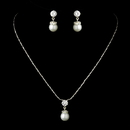 Elegance by Carbonneau NE-71779-S-White Silver White Pearl & CZ Crystal Necklace & Earrings Bridal Jewelry Set 71779