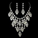 Elegance by Carbonneau NE-71990-Silver-Clear Silver Clear Necklace Earring Set 71990