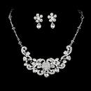 Elegance by Carbonneau NE-7210-Silver-Clear Brilliant Silver Clear Rhinestone Flower Necklace & Earring Set 7210