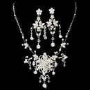 Elegance by Carbonneau NE-7300-SilverClear Swarovski Couture Necklace Earring Set NE 7300