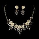 Elegance by Carbonneau NE-7305-Gold Necklace Earring Set NE 7305 Gold