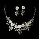 Elegance by Carbonneau NE-7305-Silver Porcelain Flower Accented Necklace Earring Set NE 7305