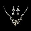 Elegance by Carbonneau NE-7500-Silver-White Necklace Earring Set 7500 Silver White