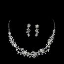 Elegance by Carbonneau NE-7600 Silver Crystal Floral Jewelry Set NE 7600