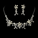 Elegance by Carbonneau NE-7607-SilverPearl Swarovski & Freshwater Pearl Couture Jewelry Set NE 7607