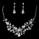 Elegance by Carbonneau NE-7609-SilverPearl Couture Pearl & Crystal Jewelry Set NE 7609