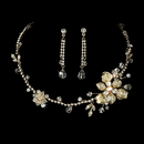 Elegance by Carbonneau NE-7802-GoldClear Necklace Earring Set NE 7802 Gold Clear