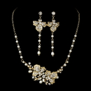 Elegance by Carbonneau NE-7803-GoldPearl Freshwater Pearl Bridal Necklace Earring Set NE 7803