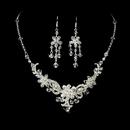 Elegance by Carbonneau NE-7821-SilverClear Necklace Earring Set NE 7821 Silver Clear