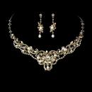 Elegance by Carbonneau NE-7825-GoldPearl Freshwater Pearl Necklace Earring Set NE 7825