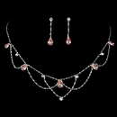 Elegance by Carbonneau NE-8000-S-Pink Silver Pink Necklace & Earring Bridal Jewelry Set NE 8000