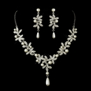 Elegance by Carbonneau NE-8017-AS-DW Antique Silver Diamond White Pearl Accents Necklace & Earrings Bridal Jewelry Set 8017