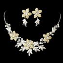 Elegance by Carbonneau NE-8100-Silver-Ivory Stunning Silver Ivory Jweelry Set NE 8100