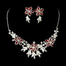 Elegance by Carbonneau NE-8100-Silver-Red Stunning Silver Red Jewelry Set NE 8100