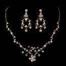 Elegance by Carbonneau NE-8215-G-Clear Gold Clear Rhinestone Floral Vine Necklace & Chandelier Earrings Bridal Jewelry Set 8215
