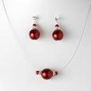 Elegance by Carbonneau NE-8369-silverred Pearl Necklace Earring Set NE 8369 Red