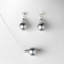 Elegance by Carbonneau NE-8369-silversilver Pearl Necklace Earring Set NE 8369 Silver