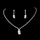 Elegance by Carbonneau NE-8385-Silver-Clear Necklace Earring Set 8385 Silver Clear Or Gold