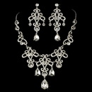 Elegance by Carbonneau NE-8387-Silver-Clear Necklace Earring Set 8387 Silver Clear