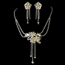 Elegance by Carbonneau NE-8395-Silver-Ivory Necklace Earring Set 8395 Silver Ivory