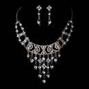 Elegance by Carbonneau NE-8448-Silver-Clear Silver Clear Necklace Earring Set 8448