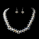 Elegance by Carbonneau NE-8524 Silver Ivory Aurora Borealis Necklace Earring Set 8524
