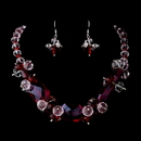 Elegance by Carbonneau NE-8548-Red Red Necklace Earring Set 8548