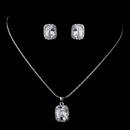 Elegance by Carbonneau ne-8605-silver Silver Clear CZ Necklace & Earring Set 8605