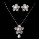 Elegance by Carbonneau ne-8619-silver Pearl & CZ Pave Flower Jewelry Set 8619