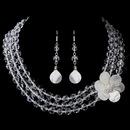 Elegance by Carbonneau NE-8700-S-Clear Crystal & Mother-Of-Pearl Flower Necklace & Earrings Set NE 8700