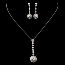 Elegance by Carbonneau ne-8722-silver Silver Clear CZ Necklace & Earring Set 8722
