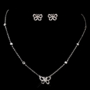 Elegance by Carbonneau ne-8723-silver Butterfly CZ Necklace & Earring Set 8723