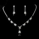 Elegance by Carbonneau NE-9235-Silver-Black Necklace Earring Set 9235 Silver Black