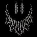 Elegance by Carbonneau NE-9502-S-Black Silver Black Acrylic Stone Fashion Jewelry Set 9502