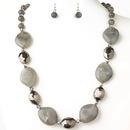 Elegance by Carbonneau NE-9506-H-Smoke Hematite Smoke Black Diamond Stone And Faceted Beaded Fashion Jewelry Set 9506