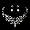 Elegance by Carbonneau NE-9786-Silver-Clear Enchanting Silver Clear Crystal Necklace & Earring Set 9786