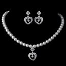 Elegance by Carbonneau NE-C-466-S-IV Silver Ivory Pearl & Rhinestone Heart Child's Jewelry Set 466