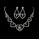 Elegance by Carbonneau NE460 Matching Sweet 15 or 16 Rhinestone Necklace & Earring Jewelry Set 460
