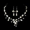 Elegance by Carbonneau NE8261-silverpearl Keshi Bridal Pearl Jewelry Set NE 8261