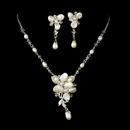 Elegance by Carbonneau NE8262-silverpearl Silver Freshwater Pearl Jewelry Set NE 8262