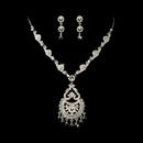 Elegance by Carbonneau NE-932-Silver-Clear Chandelier Dangle Jewelry Set NE 932