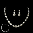 Elegance by Carbonneau NEB-815-Silver-White Necklace Earring Bracelet Set 815 Silver White