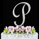 Elegance by Carbonneau P-Sparkle-Silver Sparkle ~ Swarovski Crystal Wedding Cake Topper ~ Silver Letter P