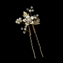 Elegance by Carbonneau Pin-039-gold Pearl and Rhinestone Floral Hair Pin 039 Gold