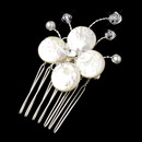 Elegance by Carbonneau PIN-104 Dainty Floral Coin Pearl Mini Comb Pin-104