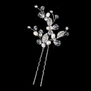 Elegance by Carbonneau Pin-11202-S-FW Silver Freshwater Ivory Pearl & Swarovski Crystal Leaf Pin 11202